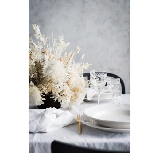 Preserved white flower centerpiece